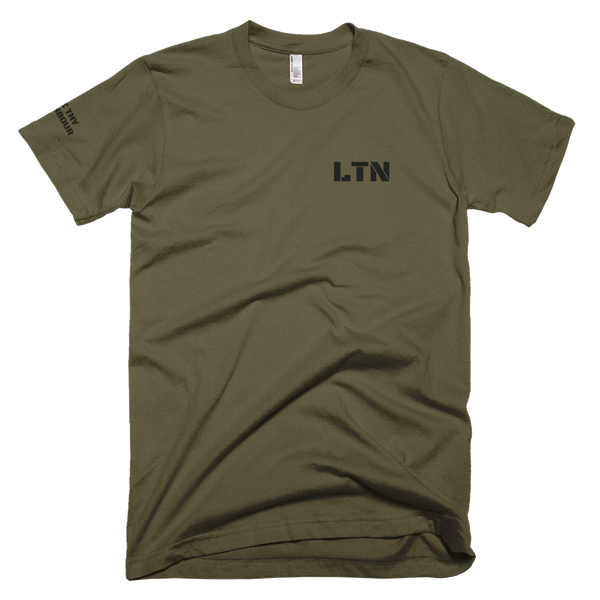LTN This is war gym shirt, khaki green front