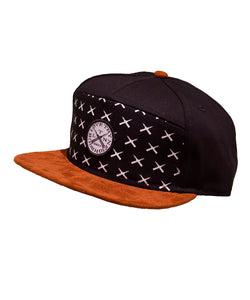 LTN - 7 panel snapback with Sued look bill and LTN butterfly knives repeating print across the front with embroidery patch