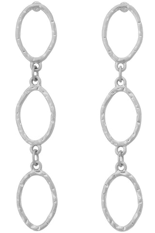 Oval Drop Earrings-Silver