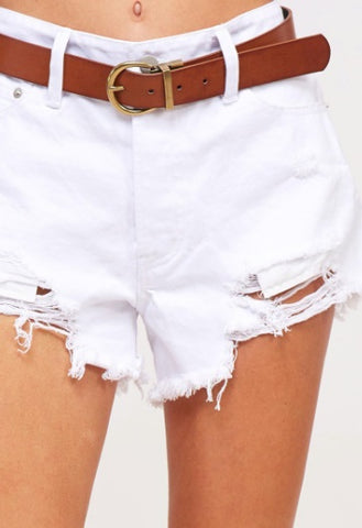 Distressed/Frayed Denim Shorts