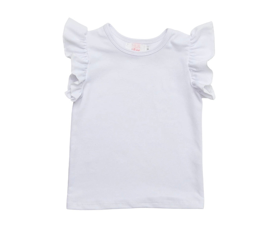 Kids White S/S Ruffle Top