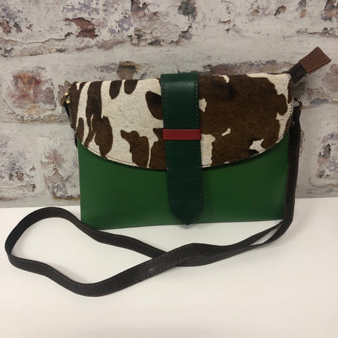 Sutton Leather Crossbody- Green Cow