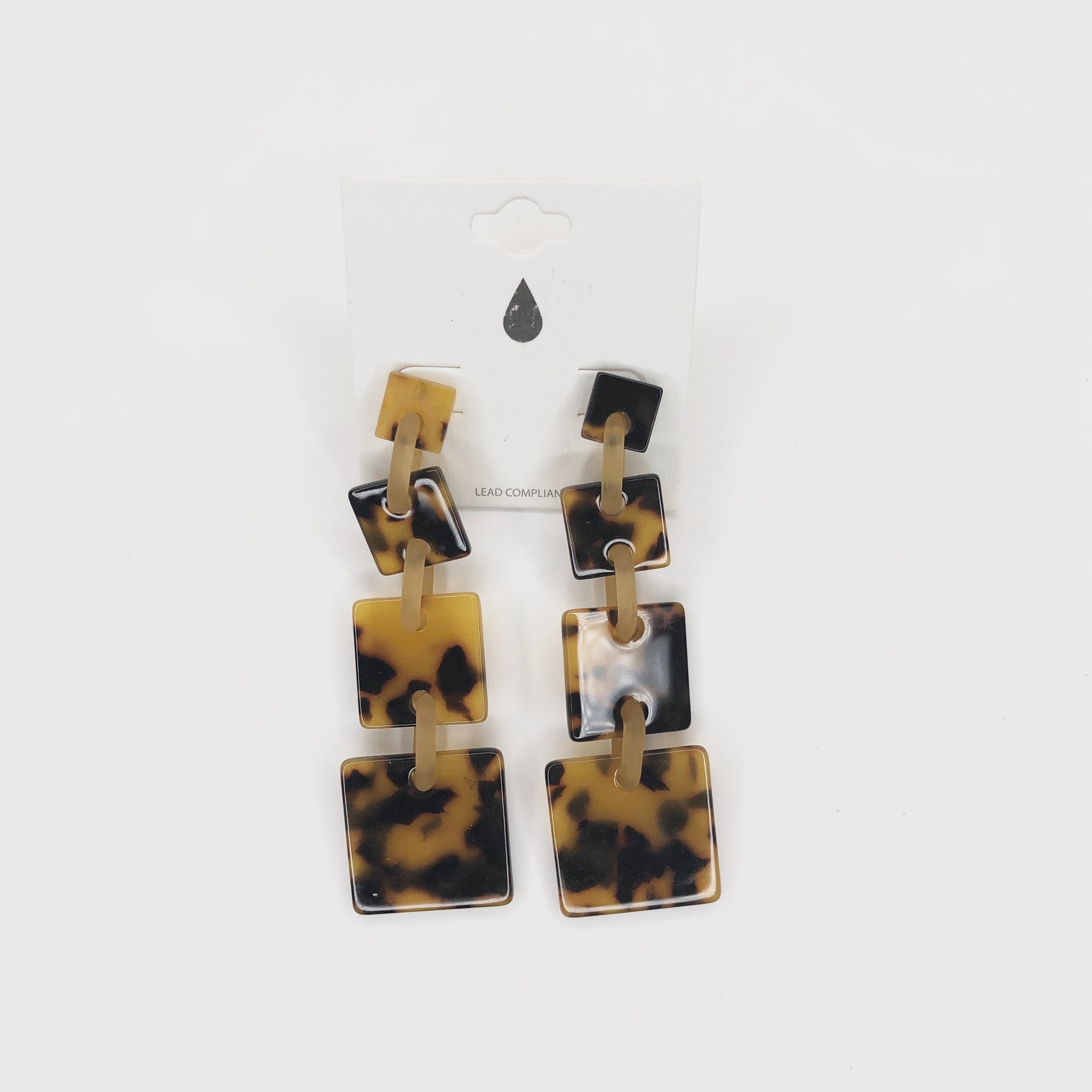 Acrylic Square Link Earrings