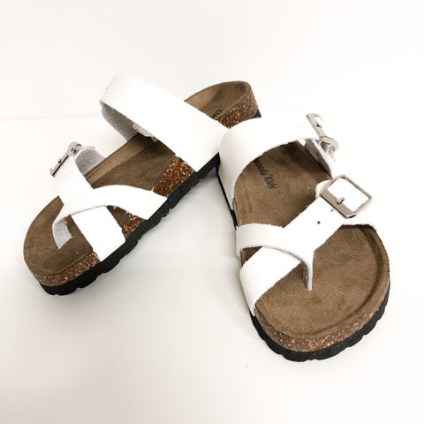 Kids White Crossover Toe Sandals