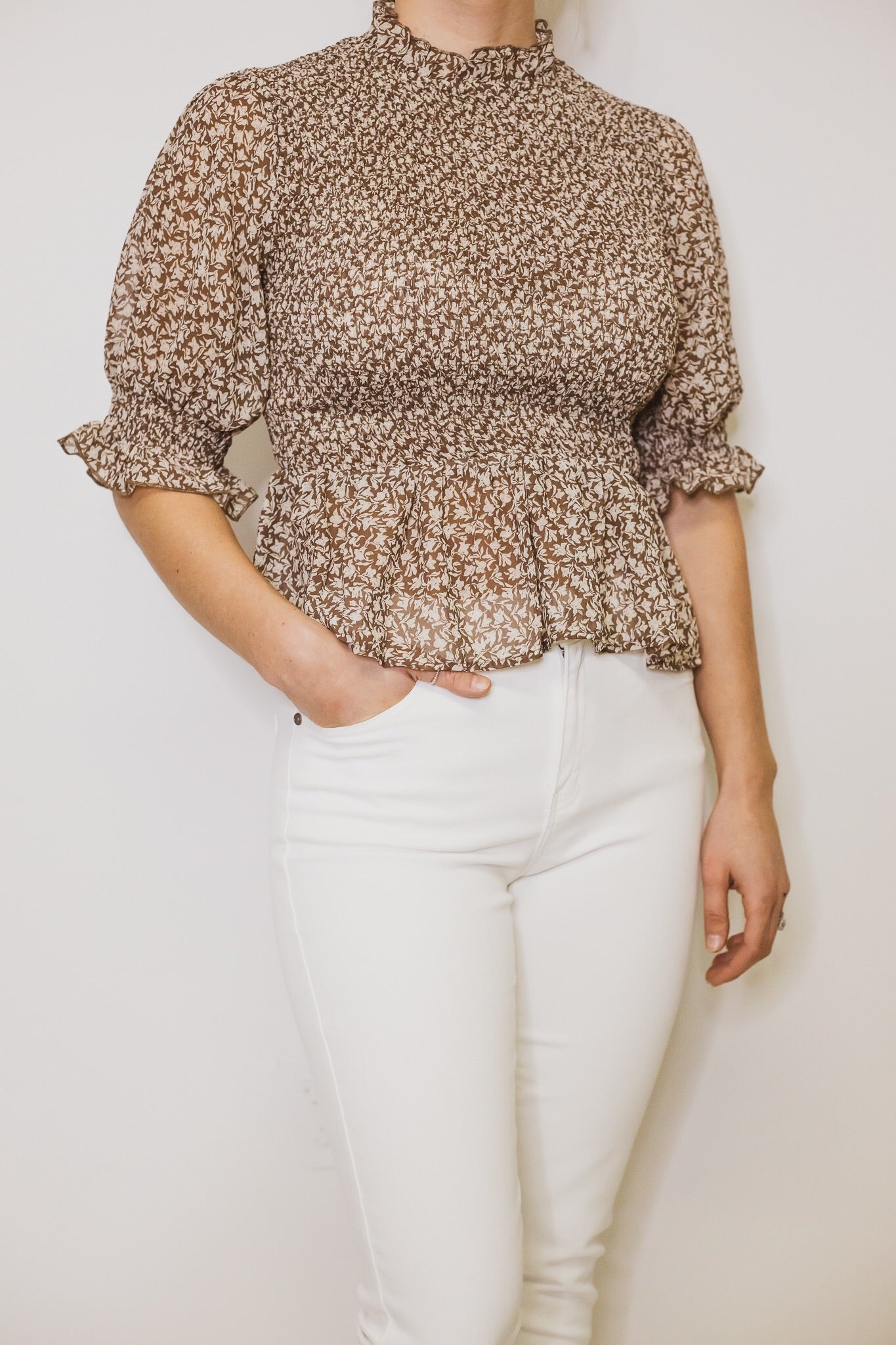 Brown Floral Top