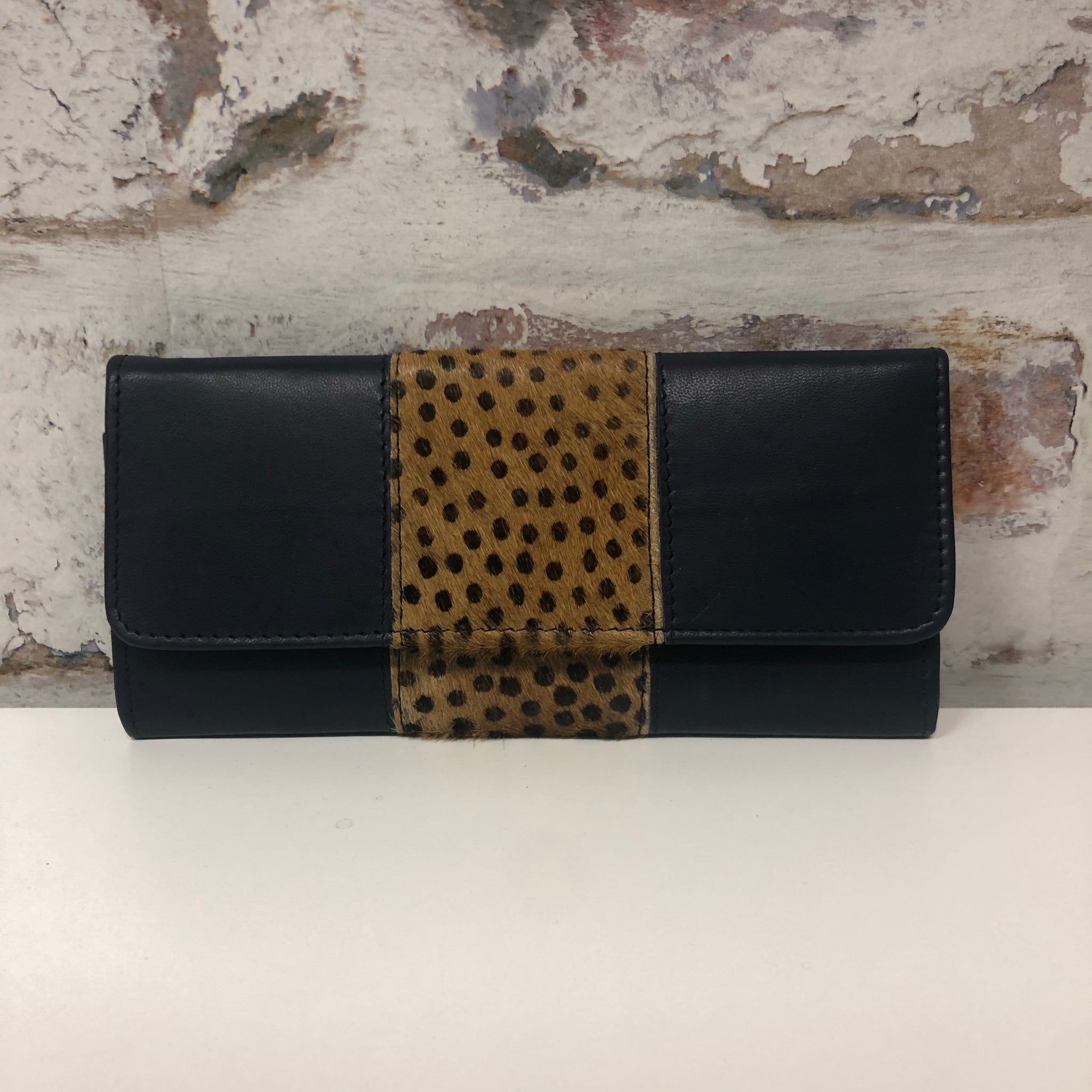 Bria Leather Wallet- Navy Spotted