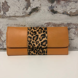 Bria Leather Wallet- Orange Cheetah