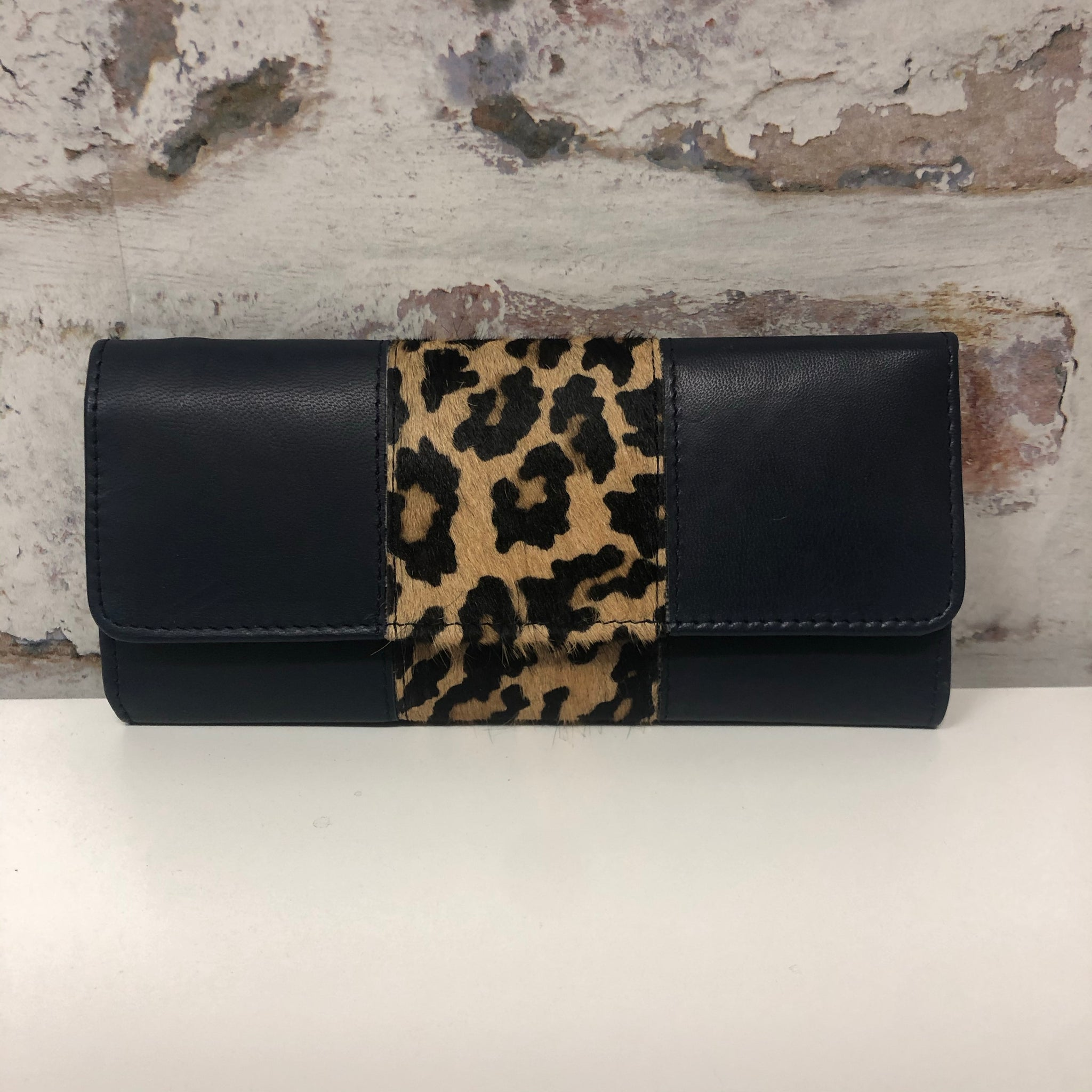 Bria Leather Wallet- Navy Leopard