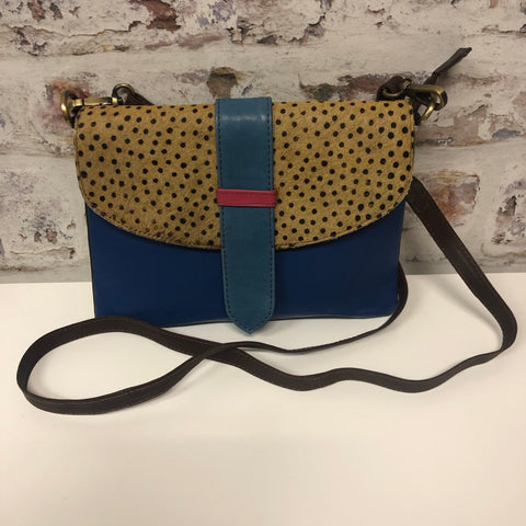 Sutton Leather Crossbody-Navy Spotted