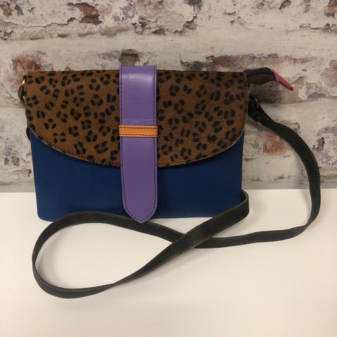 Sutton Leather Crossbody-Navy Cheetah