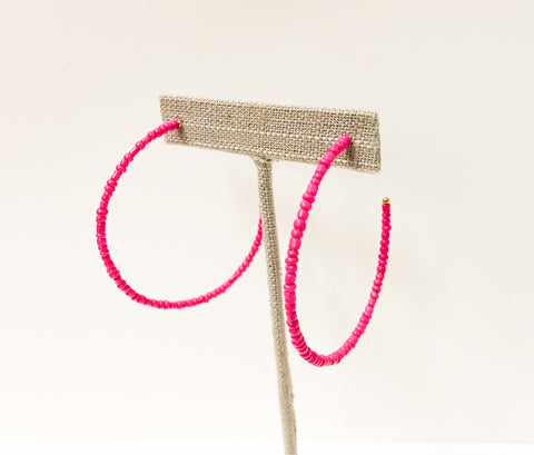 Fuchsia Seed Bead Earrings