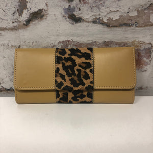 Bria Leather Wallet- Mustard Leopard