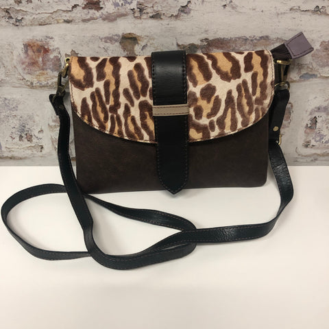 Sutton Leather Crossbody-Brown Leopard