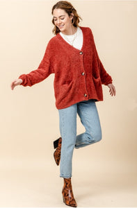 Rust Button Up Cardigan