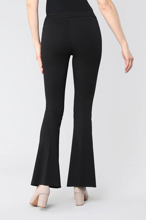 Lisette L Montreal Kathryne Flare Pant black pull on pant with slim waistband slim through the leg flare from knee down to hem back view_15474960138349