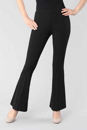 Lisette L Montreal Kathryne Flare Pant black pull on pant with slim waistband slim through the leg flare from knee down to hem front view_15474960171117