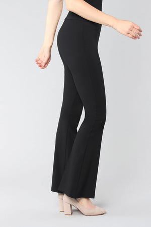 Lisette L Montreal Kathryne Flare Pant black pull on pant with slim waistband slim through the leg flare from knee down_15474960203885