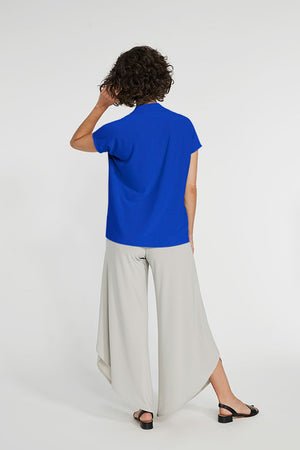Sympli Short Sleeve Deep V Top in Lapis.  V neck with short sleeves and 2 front slits at hem.  Boxy shape. Soft drape._23508356759752