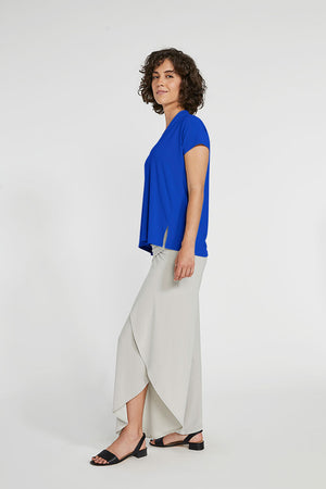Sympli Short Sleeve Deep V Top in Lapis.  V neck with short sleeves and 2 front slits at hem.  Boxy shape. Soft drape._23508356825288