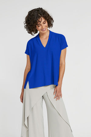 Sympli Short Sleeve Deep V Top in Lapis.  V neck with short sleeves and 2 front slits at hem.  Boxy shape. Soft drape._23508356595912