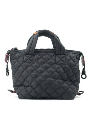 Mini Quilted Convertible Handbag in Black 9 x 7x 4 inches with detachable strap_15319615668333