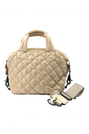 Mini Quilted Convertible Handbag with web strap and double handles in soft metallic gold_14966839574637
