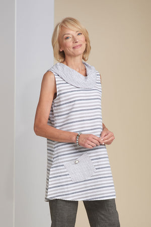 Catalina Stripe Swing Pocket Cowl.  Tunic length sleeveless tunic in crinkle cotton.  Cowl neck and right front patch pocket are in taupe & white stripes.  Body consists of variegated stripes in shades of taupe, beige and white._15388236578925