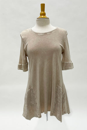 Top Ligne Mineral Wash Contrast Tunic in Sand.  Crew neck short sleeves.  Reversed fabric trim at neck and shoulders.  Reverse fabric asymmetric inserts at sides._28795772240072