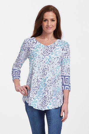 Whimsy Rose Flowy Tunic v neck tunic with shirt tail hem in a blue and purple animal inspired print.  3/4 sleeve with geometric block print at sleeve hem._15431772405869