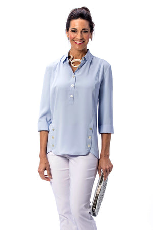 Beau Chemise Tulip Hem Blouse.  Popover blouse with 5 button front placket. and tulip hem in front with 3 buttons on each side.  3/4 sleeve with roll back cuff._23334484443336