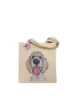 Hippie Hound Golden Doodle Tote in Natural. Screen print on 14 x 16 gussetted natural canvas double handled tote._29497720406216