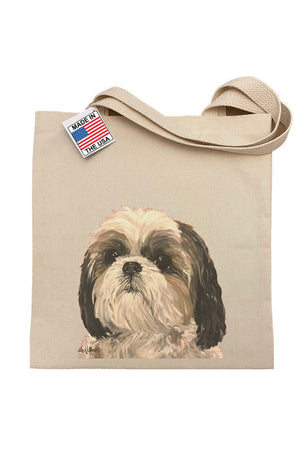 Hippie Hound Shih Tzu Tote in Natural. Screen print on 14 x 16 gussetted natural canvas double handled tote._29495516790984