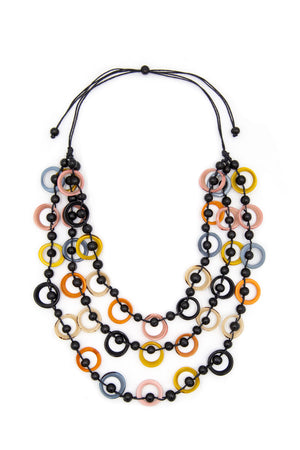 Francesca Necklace 3 tier neckalce with multi colored loops with black berries adjustable black cordage_15703503700077