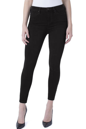 "Liverpool Abby Skinny Jean in Black Rinse .  Black wash super stretch jean.  5 pocket styling.  High rise.  28"" inseam._23523231203528"