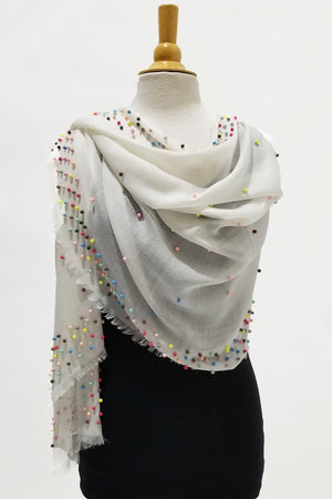 Candy Dot Wrap Ivory Ivory wrap with multi color scattered beads heavy on trim light in the middle_23258249232584