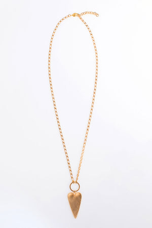 Smooth Heart on Chain Necklace gold chain long necklace with narrow heart pendant_23334807503048