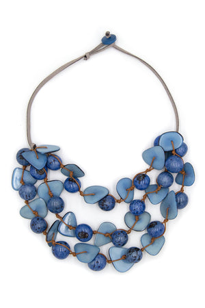 Gisell Necklace short 3 layer necklace with suede cordage that buttons to close colorful Blue tagua beads_28391563821256