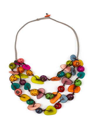 Gisell Necklace short 3 layer necklace with suede cordage that buttons to close colorful tagua beads_15536317464685