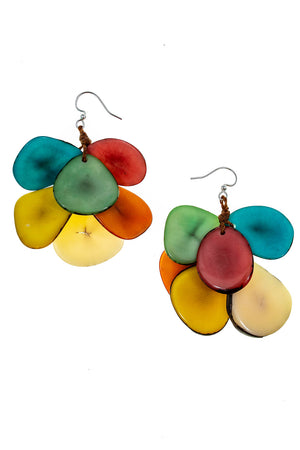 Organic Tagua Mariposa Earrings Multi colored chips of tagua nut slices on lead free nickel free fishhook wires_15336423620717