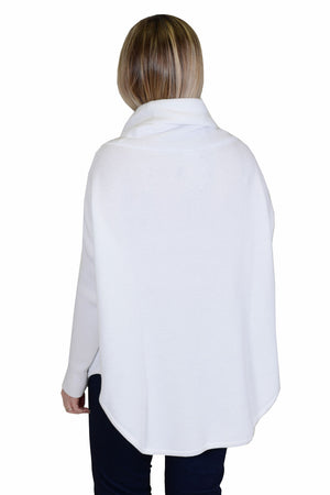 Planet Waffle Cowl in White. Waffle weave oversized sweater._23303039975624