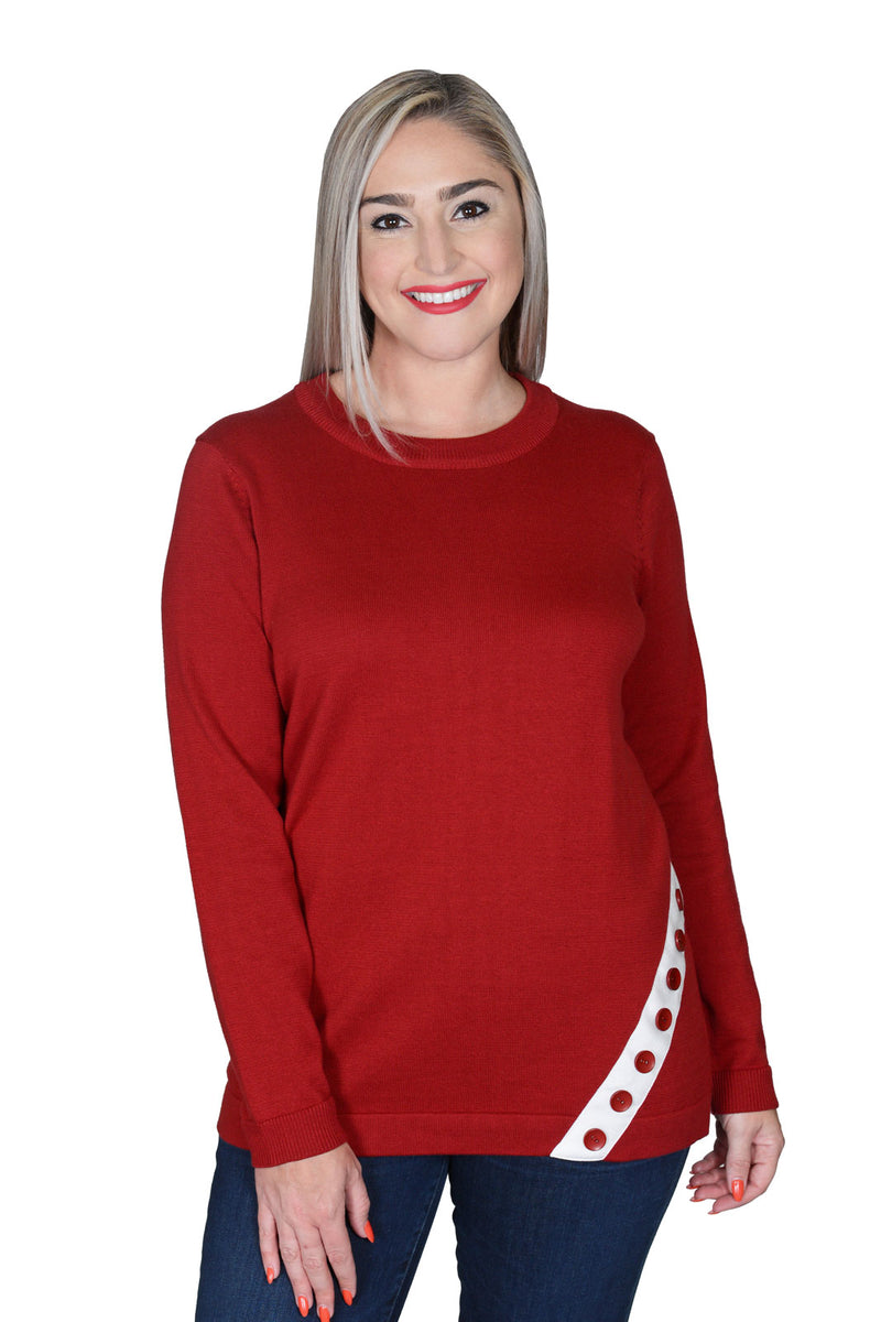 Ten Oh 8 Angled Twill Tape Sweater Scarlet