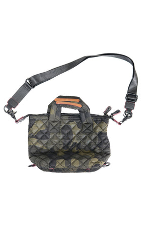 Mini Quilted Convertible Handbag with web strap and double handles in green camouflage_14253932118125