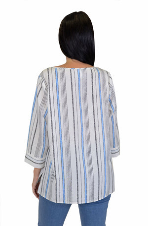 Cali Girls Sally Stripe Boxy Shirt in white with light blue and black vertical stripes.  Crew neck with 3/4 length split cuff sleeves.  Rounded hem._15806548639853