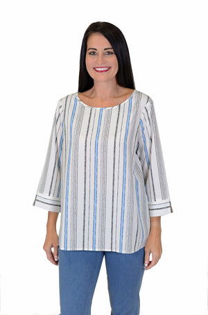 Cali Girls Sally Stripe Boxy Shirt in white with light blue and black vertical stripes.  Crew neck with 3/4 length split cuff sleeves.  Rounded hem._15806548607085