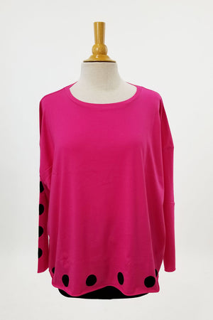 Planet Polka Dot Boxy Tee in shocking pink/black.  Crew neck with dolman sleeve.  Polka dots around hem and down center of right sleeve._23663819194568