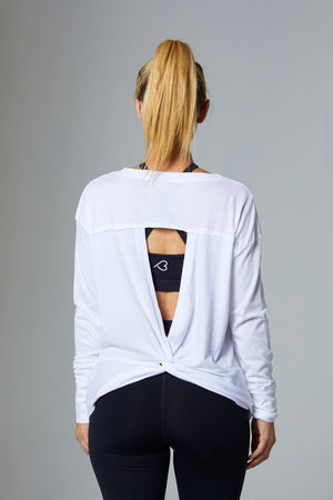 White Long Sleeve Pullover with open Back - bodyloveathletica