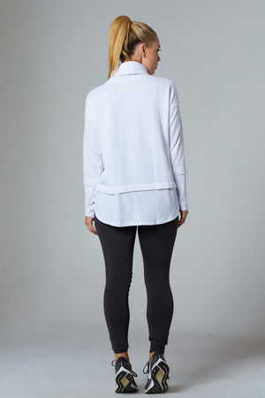 White Hoodie, Double Layer Sweater - bodyloveathletica