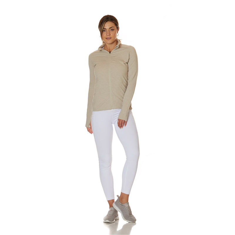 Cream Zip Up - bodyloveathletica