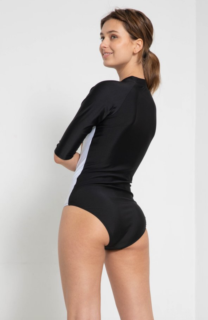 Zip Up RashGuard Black & White - bodyloveathletica