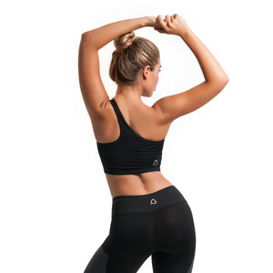 Transcending One Shoulder Bra Black - bodyloveathletica